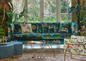 Eclectic green sofa floral fabric