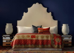 Eclectic colorful bedroom blue walls