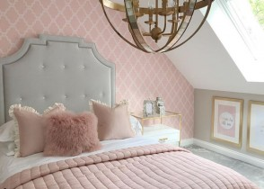 Pink bedroo m white headboard glam cozy  bedroom