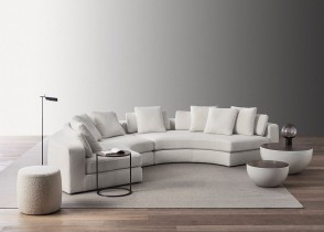 Contemporary Modern Living room Decor round half moon sofa