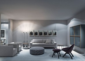 Contemporary modern grey monochromatic living room sofa