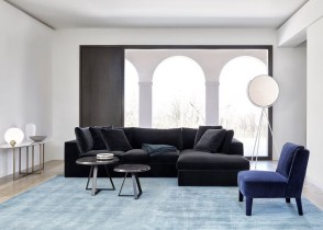 Contemporary modern velvet sectional sofa