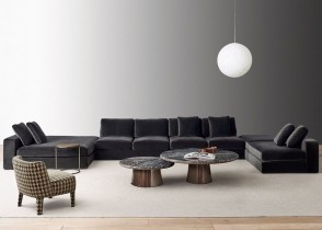 Contemporary velvet sectional