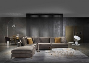 Modern Velvet Sofa Sectional Grey