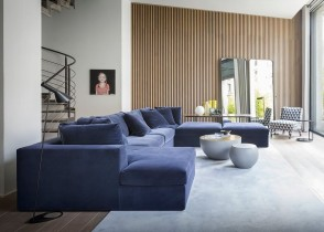 Modern blue velvet sectional