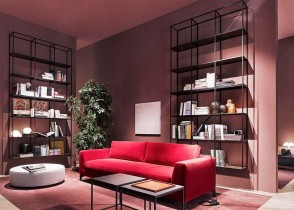Modern red sofa living room
